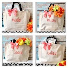 6 bridal party tote bags   bridesmaid by FallenStarCoutureInc