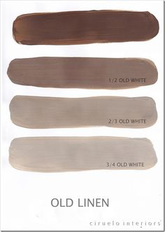 """Old Linen (named Coco in the US) Excellent info from Ciruelo Interiors Blog; """"Annie Sloan Chalk Paint lovers: Here is my extended colours range"""" show how the colors can be mixed to achieve huge color range~"""