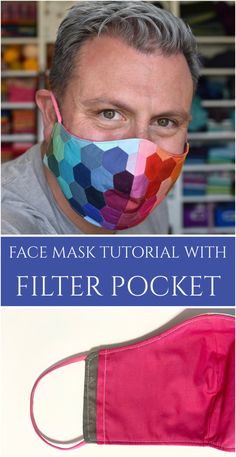 Rainbow Hexie Face Mask with Filter Pocket (Tutorial) - Mister Domestic Diy Mask, Diy Face Mask, Face Masks, Sewing Patterns Free, Sewing Tutorials, Sewing Projects, Free Sewing, Sewing Tips, Sewing Ideas