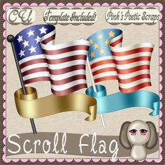 Scroll Flag (FS-CU-TEMPLATE-PSP SCRIPT) : Scrap and Tubes Store, Digital Scrapbooking Supplies