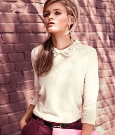 peter pan collar sweater and plum pants, minus this girls' face Edgy Look, Lady, Classic Looks, Passion For Fashion, Dress To Impress, Style Me, Autumn Fashion, Cute Outfits, Teen Fashion