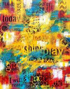 Word Play, 2017 Robin Jorgensen Mixed Media Unique Work Size : 20 x 16 x in. Robin, Website Images, Online Checks, Word Play, Beautiful Sunrise, Paintings I Love, Mixed Media Canvas, Love At First Sight, Textures Patterns