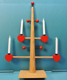 Large Swedish vintage 1950s HANDMADE red/ natural wood Christmas candleholder for 4 small candles, made after old original