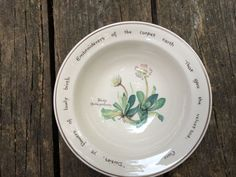 Romance? Poetry and Flowers? Now that's romantic, on a Noritake Ireland Bowl 1977.Wild daisies and wise words mix in this one of a kind bowl on Etsy, $8.00