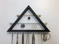 Double Bar Earring-Ring-Necklace Organizer / Jewelry Organizer / Earring Holder / Bracelet Display / Metal & wood Jewelry Organizer Display by JMKPracticalDesigns on Etsy
