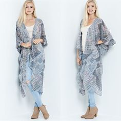 """""""Peace & Love"""" Printed Maxi Duster Cardigan Tribal print maxi cardigan kimono duster. This beautiful piece will later well with any outfit! Get this festival style today! Brand new without tags. Runs true to size. Bare Anthology Jackets & Coats"""