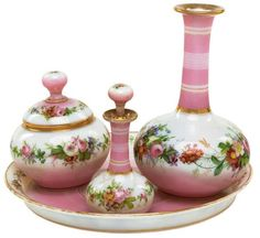 CONTINENTAL PINK GLASS TOILETTE SET  LATE 19TH CENTURY