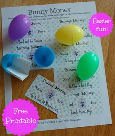 This Easter Egg Bunny Money Printable makes coupons for fun treats like a movie night, skipping chores, and breakfast for dinner to hide in plastic eggs.