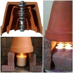 The Terra-Cotta space heater can heat up an entire room with just a few candles that cost roughly 15 cents per day! The Terra-Cotta space heater can heat up an entire room with just a few candles that cost roughly 15 cents per day!
