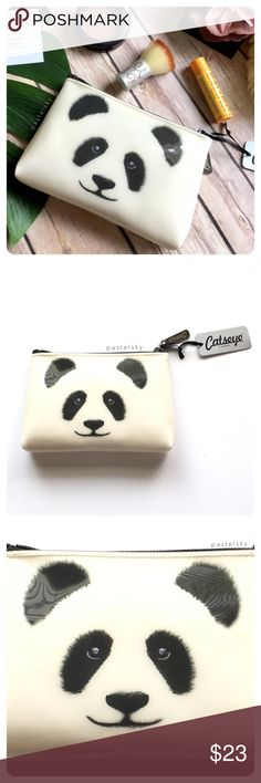 """🆕 CATSEYE LONDON panda makeup bag NEW in with tag, never used and in perfect condition. phthalate-free PVC outside and fully lined inside. perfect for keys, makeup, feminine products, etc.  details ・4.25"""" tall ・6.25"""" long ・1"""" wide (at bottom)  color of actual item may vary slightly from photos give or take a few centimeters due to hand measurements  please don't hesitate to ask questions. happy POSHing 😊  💰 use offer feature to negotiate price 🚫 i do not trade or take any transactions…"""