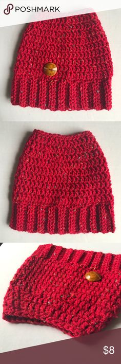 Custom made bun hole beanie Look fashionable keeping your head warm while keeping your hair stylish  This beanie is so pretty! Vibrant, red with multicolor flecks and accented with a brown button on the front. Has a hole in the top to pull your bun or ponytail through! Accessories Hats
