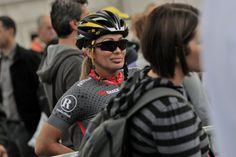 Lisa Christiansen at the Arc De Triomphe finish in Paris, France