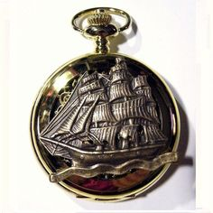 Steampunk Pocket Watch Gold Boat Ship Captain Military Pirate Antique Gothic Chain Fob Gears Brass Steam punk Retro Victorian
