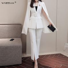 Jacket & Trousers Two-piece Suit Sets Korean Fashion Dress, Kpop Fashion Outfits, Ulzzang Fashion, Mode Outfits, Suit Fashion, Fashion Dresses, Stylish Work Outfits, Stylish Dresses, Classy Outfits