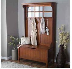 Belham Living Richland Hall Tree - Cherry - Entryway organization at its best - and most beautiful - the Richland Hall Tree - Cherry has everything you need to tidy up any transitional space. Hall Tree With Mirror, Entryway Hall Tree, Hall Tree With Storage, Hall Tree Bench, Entry Bench, Bench With Storage, Hall Trees, Storage Benches, Hallway Bench