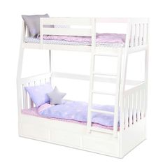 Our Generation Dream Bunks - Bunk Beds for 18 Dolls Doll Bunk Beds, Bunk Bed Sets, Kids Bunk Beds, Muebles American Girl, American Girl Doll Bed, Modern Bunk Beds, Modern Bedding, Luxury Bedding, Our Generation Dolls