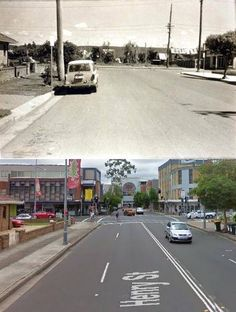 Henry Street, looking west to Station Street, Penrith in the 1960's and 2010. [1960's - Penrith City Council>2010 - Google Street View. By Phil Harvey]