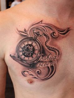 Clock. Pocket watch memorial tattoo