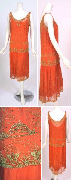 Evening dress, French, ca. 1920s. Melon-colored silk chiffon with gold beadwork. Two-piece dress has matching silk slip top above beaded chiffon skirt. Katy Kane Vintage