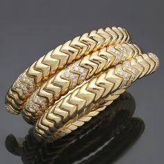 Bulgari Spiga Diamond Gold Three Row Bracelet | From a unique collection of vintage cuff bracelets at https://www.1stdibs.com/jewelry/bracelets/cuff-bracelets/