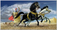 Achilles drags the body of Hector in front of Troy, by Jack Tzekov
