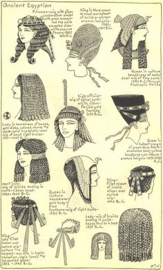 Village Hat Shop Gallery :: Chapter 1 - Ancient Egyptian :: Illustrations of the different hat styles of the Ancient Egyptians. (2 of 3):