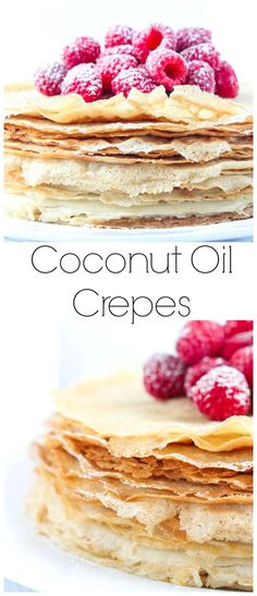 Made with healthy coconut oil and no refined sugars these crepes are light, airy, and absolutely the BEST! #brunch #crepes #coconutoil