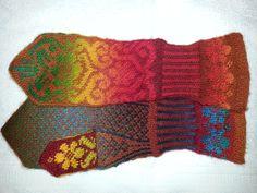 Karin Kurbits pattern by Johanne Ländin knitted in Zauberball Fingerless Mittens, Knit Mittens, Love Crochet, Knit Crochet, Fair Isle Knitting Patterns, Wrist Warmers, Sorting, Fiber, How To Make