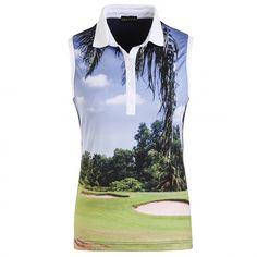 Ärmelloses Golfino Poloshirt mit Golfplatzmotiv #golfmode