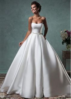 Buy discount Fabulous Satin Strapless Neckline A-line Wedding Dresses with Bowknot at Dressilyme.com