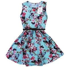 NEW Girls Floral Print Skater Dress with Belt Ages: 7-8,9-10,11-12,13 Years