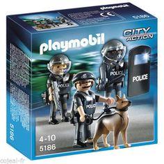 PLAYMOBIL-5186-COMMANDO-DE-POLICIER-POLICE-AVEC-CHIEN