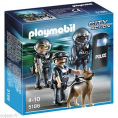 buy playmobil police unit keep the city safe with the police special forces unit this set includes three figures with police uniforms two helmets - Policier Playmobil
