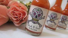 Fiesta Hot Sauce Wedding Favors ~ Sugar Skull - Bridal Shower set of 12 Personalized Hot Sauces