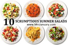 10 Scrumptious Summer Salads to Make via MrsJanuary.com #recipe #salad #summer