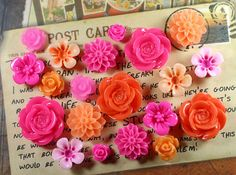 20x Resin Flower Cabochons  Fuchsia/Orange by JacsHouse on Etsy, $3.50