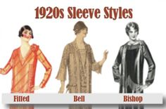 History of 1920s Day Dresses for Public Outings- Types of sleeves (long)- Fitted sleeve, bell sleeves and bishop sleeve.