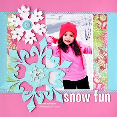 Snow Fun Scrappin' Page  Bright colors to match jacket & background