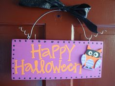 Happy Halloween sign - owl sign. $15.00, via Etsy.