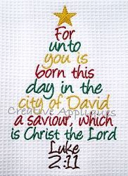 Luke 2:11 Christmas Tree - 3 Sizes! | Religious | Machine Embroidery Designs | SWAKembroidery.com Creative Appliques #embroiderydesigns