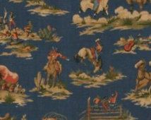 Waverly western fabric COWBOYS & INDIANS Wild West on Blue