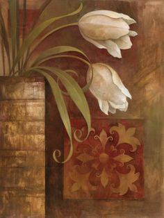 Tulip Interlude I, by Elaine Vollherbst-Lane Elaine Vollherbst-Lane Paisley Art, Painted Paper, Acrylic Art, Oeuvre D'art, Frames On Wall, Watercolor Flowers, Wall Art Prints, Modern Art, Canvas Art