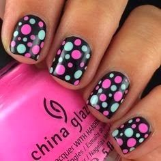 """YouKnow!"" - my pinners know im a fan of polka dots and this fun pink, white and grey dots atop of black based short nails is GORG!"