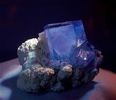 """violet colored Fluorite crystal on a cream colored Muscovite matrix, gem clear and nice zoning, the main crystal measures 1"""", from the Yaogangxian Mine, Hunan, China"""