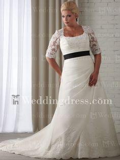 Plus Size Wedding Dresses with Sleeves_Light Ivory / Black