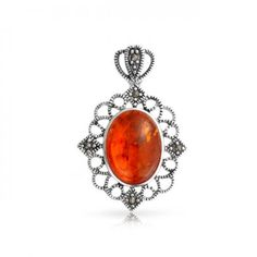 Filigree Oval Honey Amber Marcasite Pendant Victorian 925 Silver