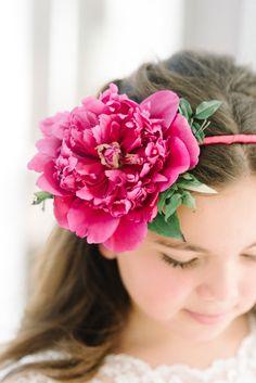 Peony headband: http://www.stylemepretty.com/new-jersey-weddings/2015/07/09/romantic-whimsical-alice-in-wonderland-inspired-new-jersey-wedding/ | Photography: Michelle Lange - http://www.loveandbemarried.com/