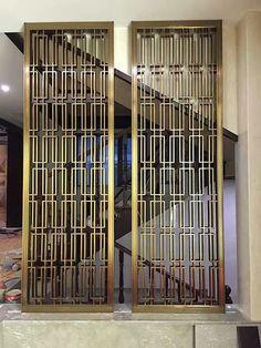 Folding Screen Room Divider, Room Divider Doors, Modern House Design, Home Design, Wall Partition Design, Decorative Metal Screen, Stainless Steel Screen, Art Deco Door, Washbasin Design