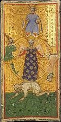 early tarot card of the wheel of fortune. 4 people refer to both the 4 stages of life along with the 4 seasons.