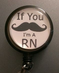 Mustache RN Nurse Retractable Name Badge Holder by ImagesNmore, $3.99